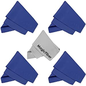 (5 Pack) MagicFiber Microfiber Cleaning Cloths for LCD screen, Camera Lens, Glasses and other delicate surfaces (4 Blue, 1 Grey) Removes fingerprints and oil with just a swipe!