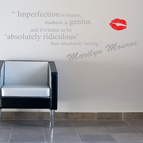 imperfection marilyn monroe quote wandtattoo wandaufkleber wall sticker decal wall vinyl motto. Black Bedroom Furniture Sets. Home Design Ideas