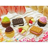 Iwako Japanese Erasers/3 Cup Cakes, 2 Biscuits, 2 Crepes