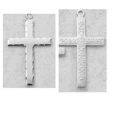 Sterling Silver the Lords Prayer Cross Medal with 24