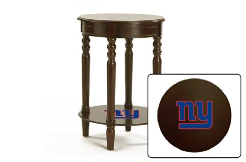 New Cappuccino / Espresso Finish Round Top Night Stand End Table Featuring New York Giants Nfl Team Logo front-1013112
