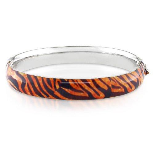 Silver Tiger Striped Animal Painting Bangle Bracelet