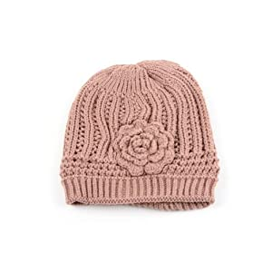 Winter Knit Flower Beanie Hat 333HB (Tan)