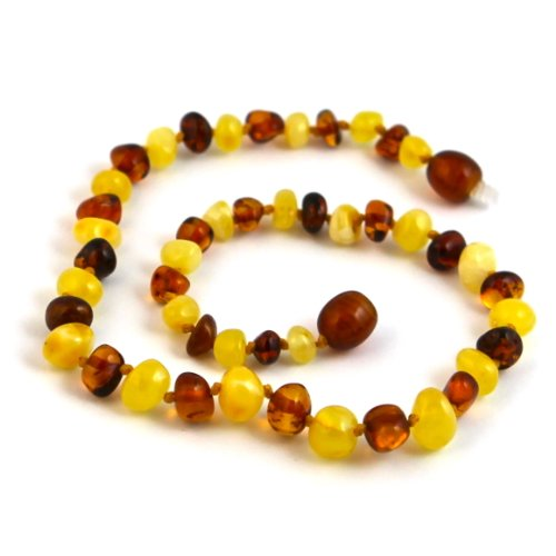 "Hazelaid (TM) 12"" Pop-Clasp Baltic Amber Milk & Cognac Necklace - 1"