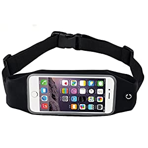 Bee Exercise, Running Waist Pack for 4.7 Inch Screen Cellphone - Outdoor Belt Bag - Touch Operating Directly With Transparent Film, Black Color