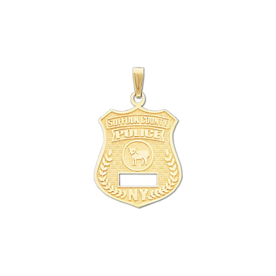 14k Suffolk County Police Officer Badge Pendant Jewelry