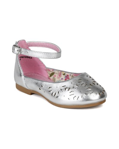 Little Angel Ai97 Leatherette Perforated Ankle Strap Ballet Flat Sandal (Toddler/ Little Girl) - Silver (Size: Toddler 7)