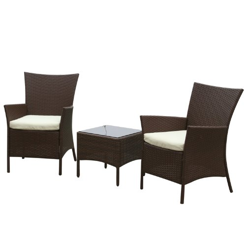 Paignton Rattan Effect Indoor/ Outdoor Furniture Set includes Coffee Table/ 2 Chairs (3 Pieces)