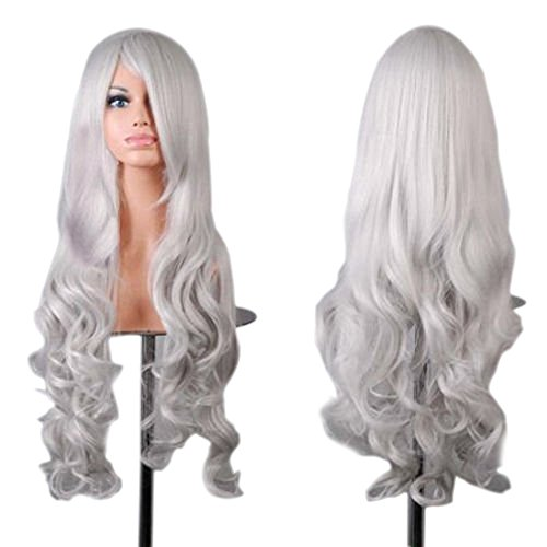 """OrangeTag 32"""" 80cm Long Hair Heat Resistant Spiral Curly Fashion Party Cosplay Wig (White)"""