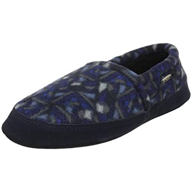 ACORN Men's Polar Moc,Navy Woodblock,Small (US Men's 7.5-8.5 M)
