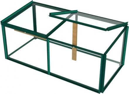 Simplicity Toughened Glass Mini Greenhouse Cold frame 4ftx2ft Green