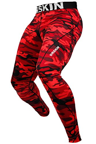 drskin-dmrb03-l-compression-tight-pants-base-layer-running-leggings-men-women-red-l