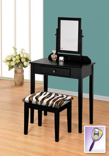 New Black Wooden Make Up Vanity Table With Mirror & Brown & White Zebra Faux Fur Themed Bench front-826117