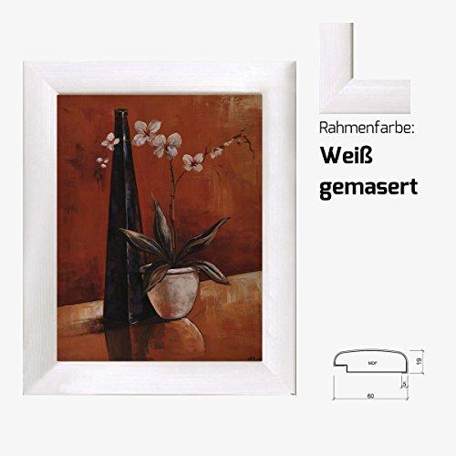 Kunstdruck Vase und Flasche gemalt Terracotta Blumen Stillleben 40 x 50 cm mit MDF-Bilderrahmen & Acrylglas reflexfrei, viele Farben zur Auswahl, hier Weiß gemasert