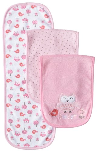 Gerber Baby-Girls Newborn 3 Pack Terry Burp Cloths - Bird, Pink, One Size