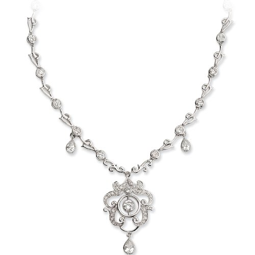Sterling Silver Cubic Zirconia Chandelier Necklace by Cheryl M