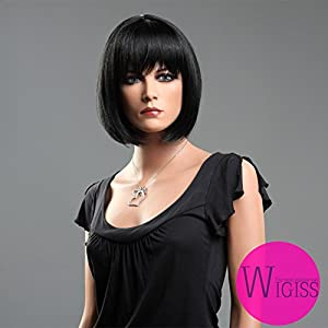Wigiss Western BOB Stylish Short Straight 100% Kanekalon Fiber Synthetic Hair Wig Black #1
