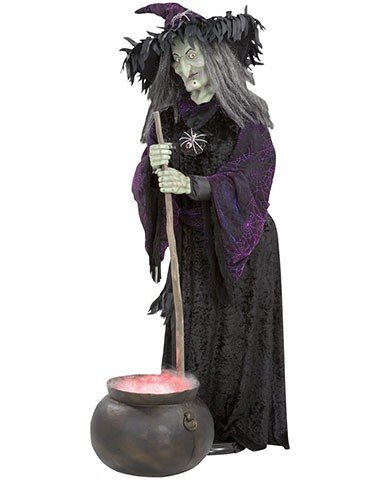 on sale witch animated life size with misting cauldron halloween decoration