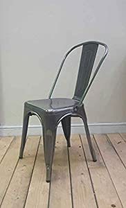 2 x Tolix style Vintage French Cafe Chairs in Gunmetal Grey       Customer review and more information