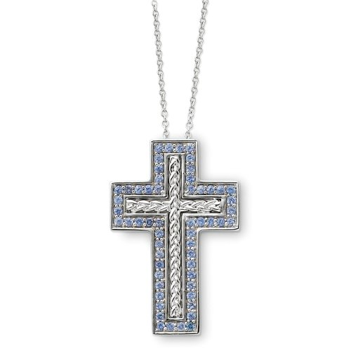 Sterling Silver December Birthstone Cross Sentimental Expressions Necklace
