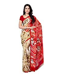 Fabdeal Georgette Brown & Red Printed Saree