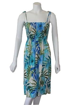 Women's Cool Summer Rayon Smocked Hawaiian Dress, S, BLUE