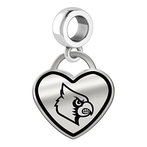 Louisville Cardinals Border Heart Dangle Charm Fits All Beaded Charm Bracelets