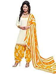 Look N Buy Latest Off-White & Yellow Coloured Printed Dress Material