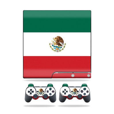 Protective Vinyl Skin Decal Cover for Sony Playstation 3 PS3 Slim Skins + 2 Controller Skins Sticker Mexican Flag