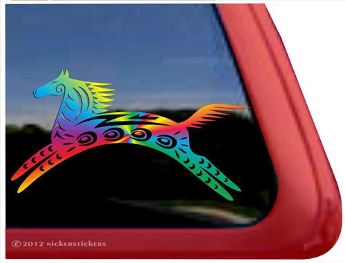 Nickerstickers Rainbow Spirit Horse Trailer Vinyl Window Decal Sticker front-114325