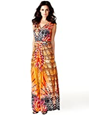 Per Una Speziale Faux Snakeskin Print Maxi Dress with Belt