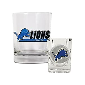 NFL Detroit Lions Rocks Glass and Shot Glass Set, Clear Glass by Great American Products