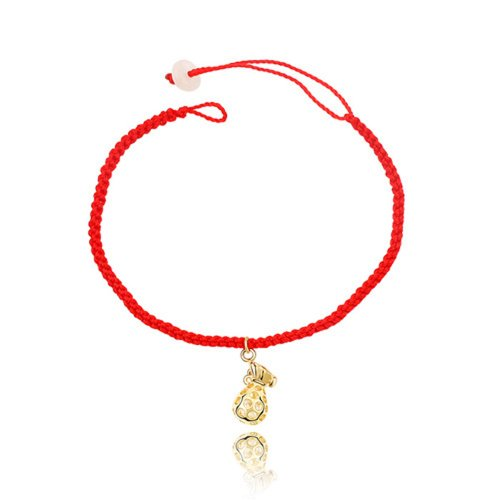 Dreamslink Fashion Jewellery Red String Rope Bracelet Unsex Fashion Jewellery With A 18k Gold plated Lucky Money Bag Bracelet 84134
