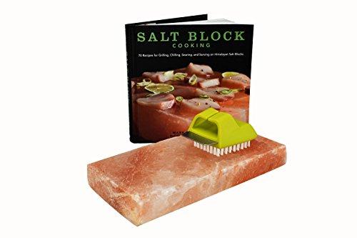 Himalayan Salt Block Cookbook Cooking Bundle: Salt Block, Salt Block Cookbook and Salt Block Cleaning Brush (Salt Brush compare prices)
