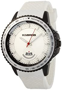 Buy K&BROS Mens 2760509 Steel Overland Black Ion-Plated White Rubber Watch by K&Bros