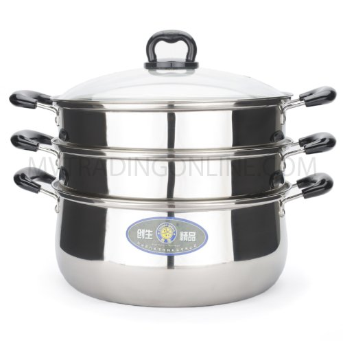 Stainless Steel 3 Tier Steamer Pot Steaming Cookware (12 Inch. / 30Cm))