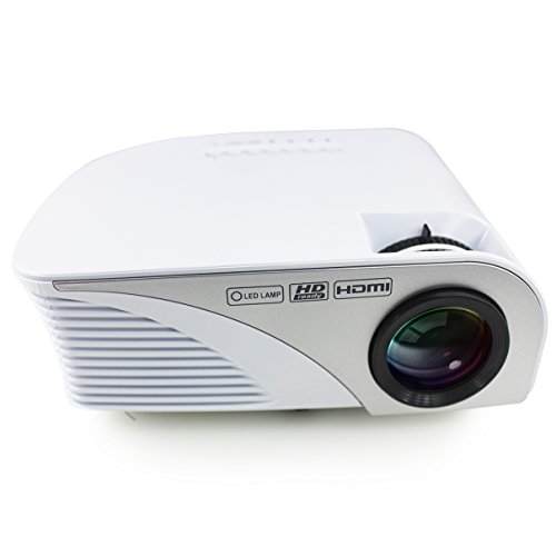 Projector (Warranty Included) Xinda LCD 1200 Lumens Mini Multi-media Portable Video Projector Game Home Cinema Theater Movie Projector White 001BW