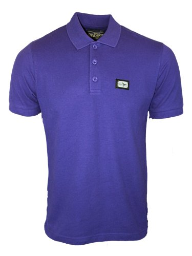 New Mens Purple Le Breve Jeans Tony Designer Short Sleeved Polo Neck T-Shirt Size XL