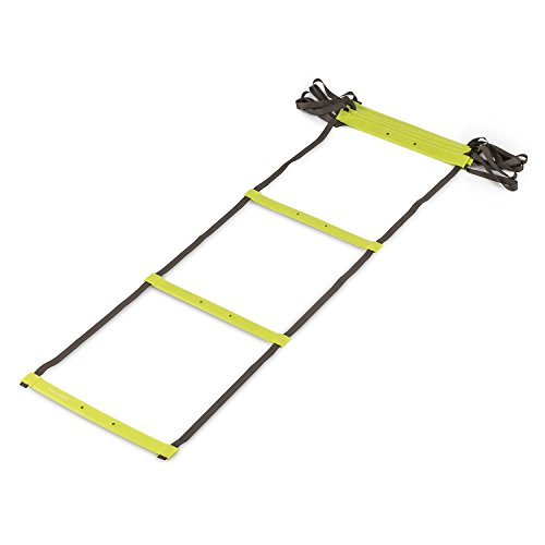 CAPITAL SPORTS Klarstride Agility Ladder Koordinationsleiter Trainingsleiter 4 o. 8m Koordnationstraining, Balance und Ausdauer (8 Aktionsfelder, Kunststoffsprossen, Polyesterbänder, inkl. Tragetasche) grün