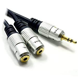 Pur HQ cuivre desoxygéné 3,5 mm Jack Vers 2 x Femelles Diviseur câble Plaqués Or 30 cm
