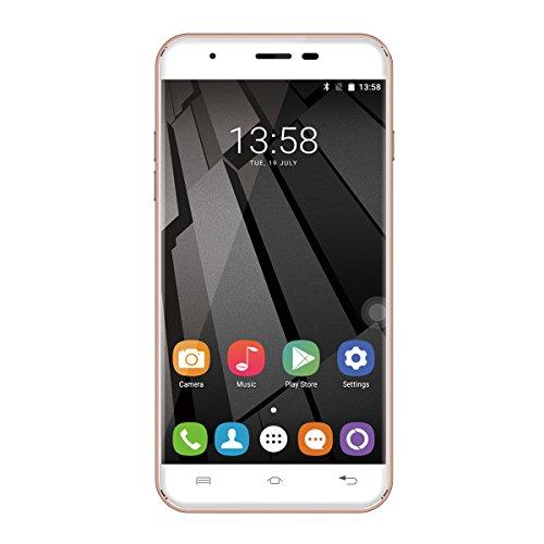 "Oukitel U7 Plus - Smartphone libre Android 6.0 (4G LTE, Pantalla 5.5"" LTPS, 16GB ROM + 2GB RAM, Quad-Core, Lector de huellas dactilares, Dual SIM), Oro rosado"