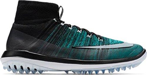Nike-Golf-Flyknit-Elite-BlackClear-JadeGlacier-BlueWhite-Mens-Golf-Shoes-Size-9