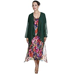 Meiro High Quality Women's Long sleeve shrug with handkerchief bottom (15263_Green_Medium) , designed in New York