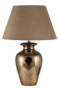 Pacific Lighting Urn Ceramic and Slubby Table Lamp Complete, Gold from Pacific Lifestyle Ltd