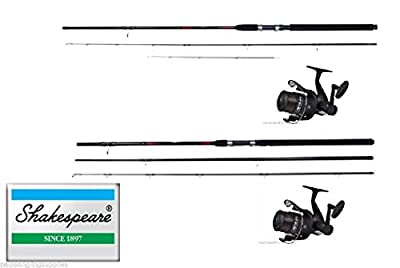 Shakespeare Twin Fishing Rod and Reel Combo Float + Feeder 2 Rods/ Reels