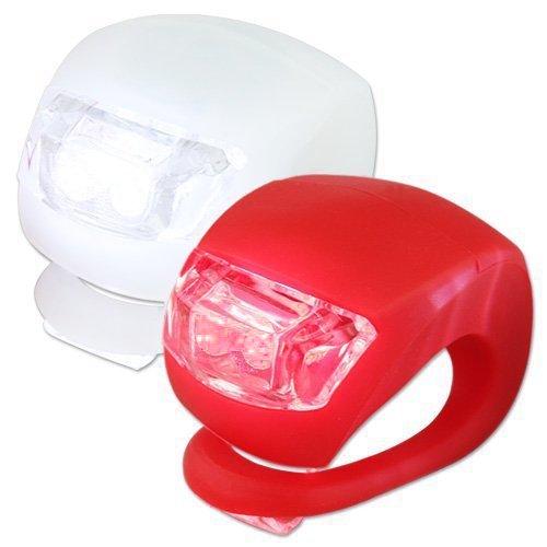 KooPower Prendedores de silicona de 2 LEDs para bicicletas de montaña a prueba de agua - Kit de 2 prendedores (blanco y rojo) con luces para la partes frontal y trasera de tu bicicleta