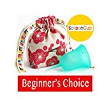 SckoonCup BEGINNER CHOICE - Made in USA - FDA Approved - Heavy Flow - Organic Cotton Pouch - Menstrual Cup - Harmony Large (Color: Sckooncup Aqua, Tamaño: Size 2(Women given birth vaginally) Large)
