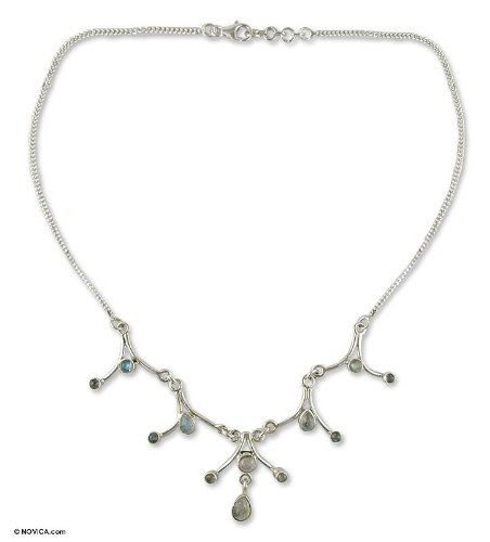 Moonstone Y necklace, 'Dreamer'