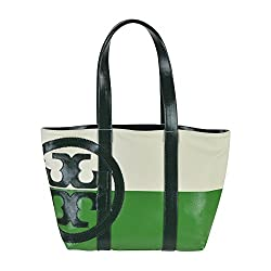 Tory Burch Small Dipped Beach Tote Natural Peapod Jitney Green