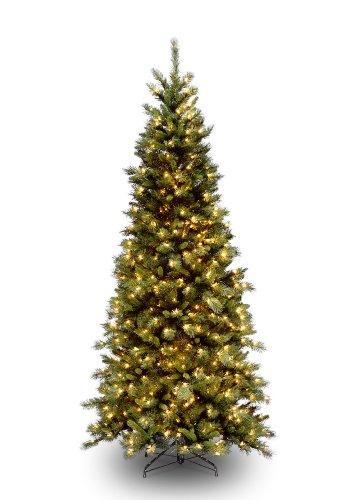 National Tree 7 1/2' Tiffany Slim Fir Tree, Hinged, 500 Clear Lights (TFSLH-75LO)